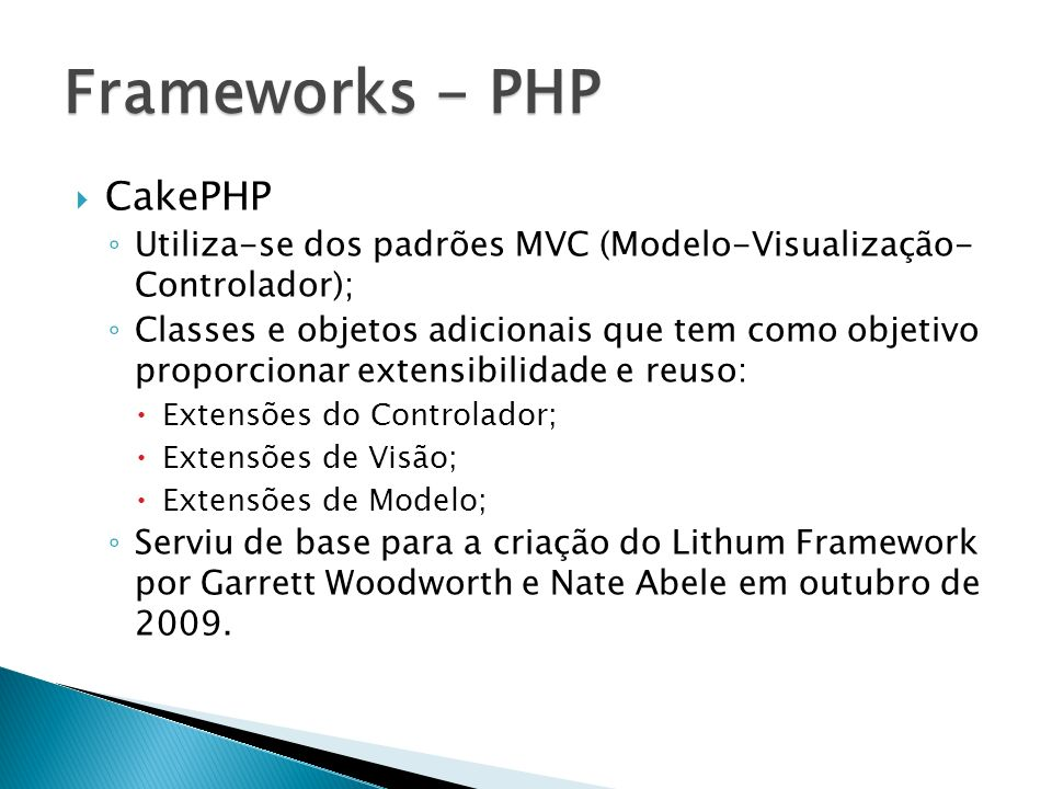 Frameworks - PHP CakePHP