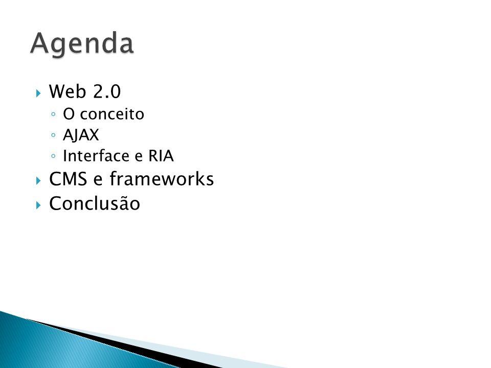 Agenda Web 2.0 CMS e frameworks Conclusão O conceito AJAX