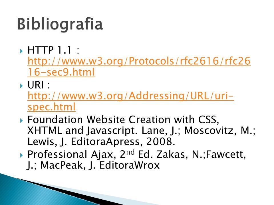 Bibliografia HTTP 1.1 : http://www.w3.org/Protocols/rfc2616/rfc26 16-sec9.html. URI : http://www.w3.org/Addressing/URL/uri- spec.html.