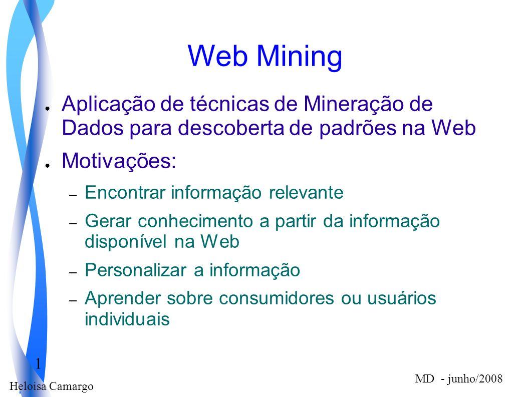 Web Mining Aplicação de técnicas de Mineração de Dados para descoberta de padrões na Web. Motivações:
