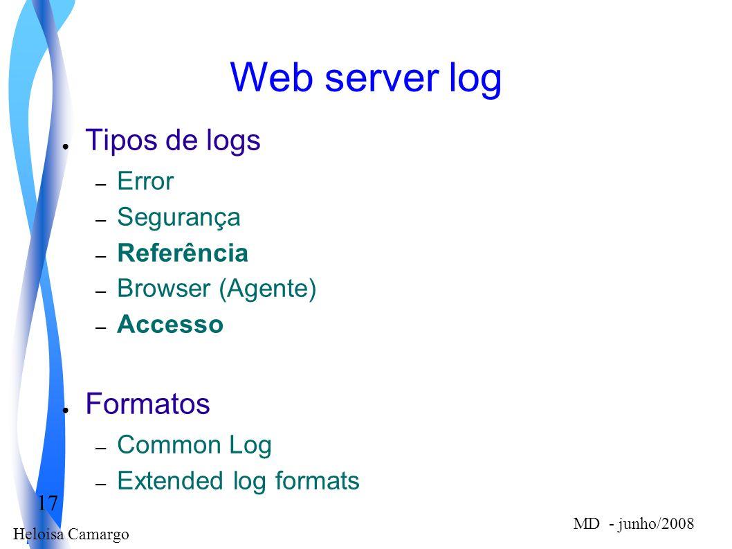 Web server log Tipos de logs Formatos Error Segurança Referência
