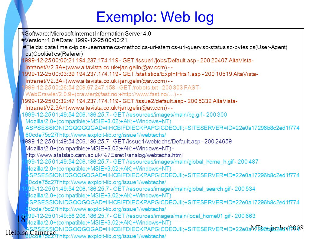 Exemplo: Web log #Software: Microsoft Internet Information Server 4.0