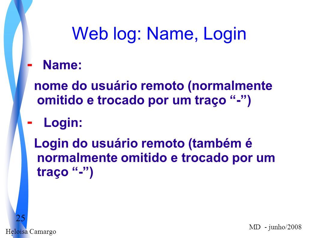Web log: Name, Login - Name: - Login: