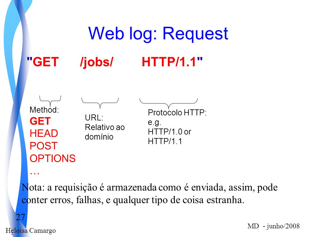Web log: Request GET /jobs/ HTTP/1.1 GET HEAD POST OPTIONS …