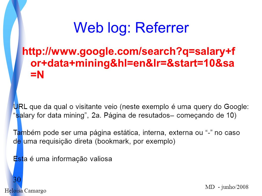 Web log: Referrer http://www.google.com/search q=salary+f or+data+mining&hl=en&lr=&start=10&sa =N.