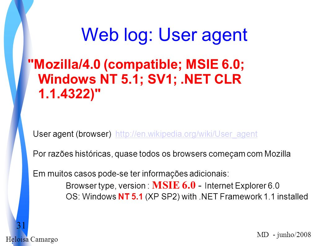 Web log: User agent Mozilla/4.0 (compatible; MSIE 6.0; Windows NT 5.1; SV1; .NET CLR 1.1.4322)