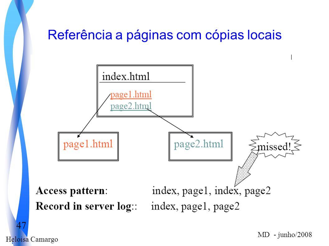 Referência a páginas com cópias locais