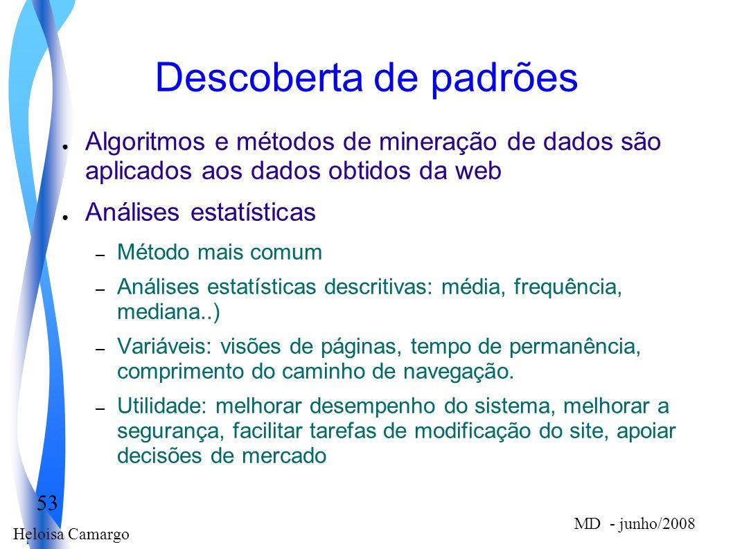 Descoberta de padrões Algoritmos e métodos de mineração de dados são aplicados aos dados obtidos da web.