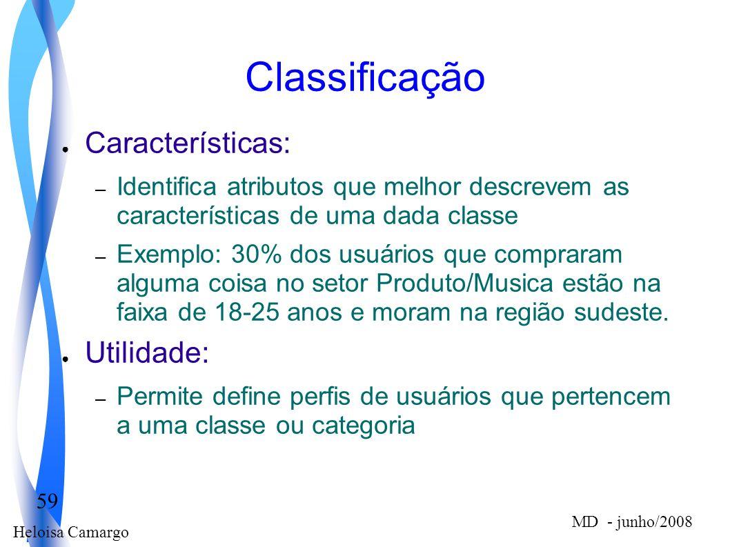 Classificação Características: Utilidade:
