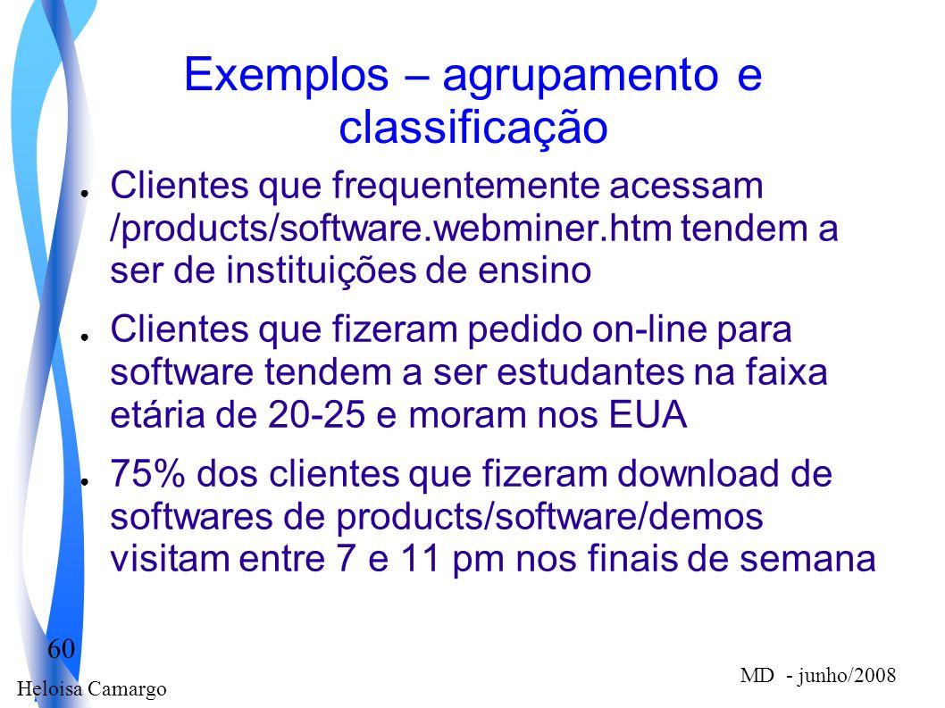 Exemplos – agrupamento e classificação