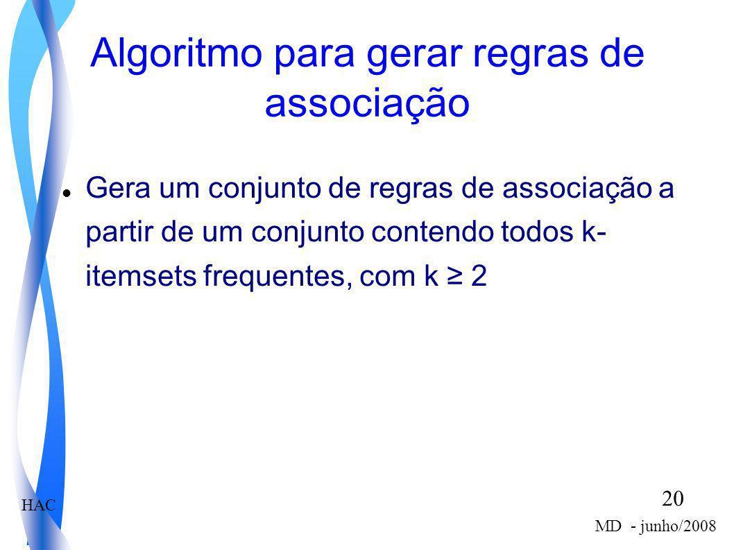 Algoritmo para gerar regras de associação