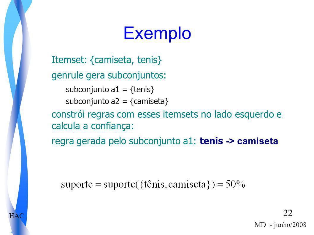 Exemplo Itemset: {camiseta, tenis} genrule gera subconjuntos: