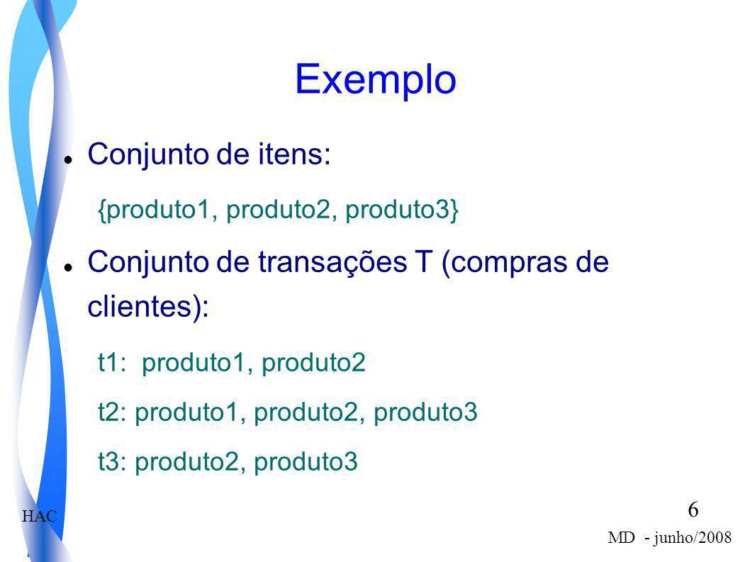 Exemplo Conjunto de itens: