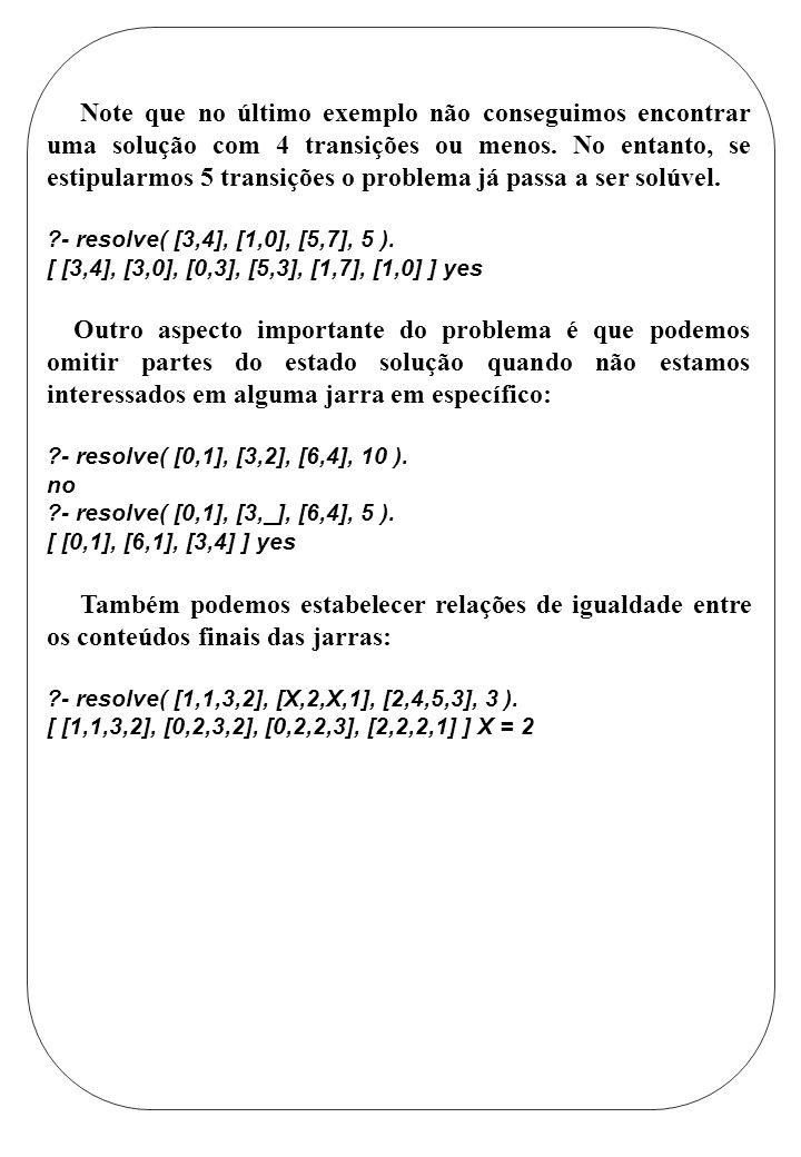 Note que no último exemplo não conseguimos encontrar uma solução com 4 transições ou menos. No entanto, se estipularmos 5 transições o problema já passa a ser solúvel.