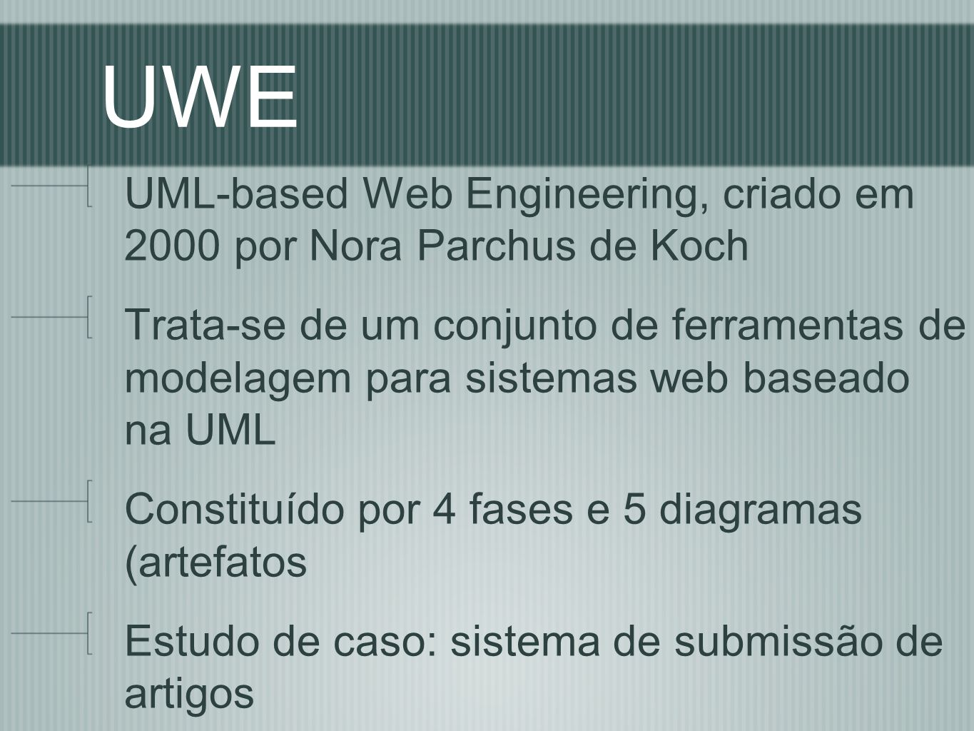 UWE UML-based Web Engineering, criado em 2000 por Nora Parchus de Koch