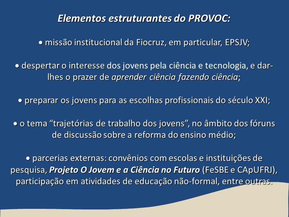 Elementos estruturantes do PROVOC: