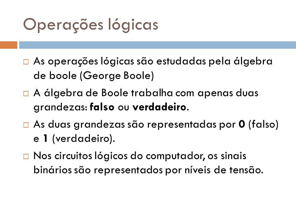 Operações lógicasAs operações lógicas são estudadas pela álgebra de boole (George Boole)
