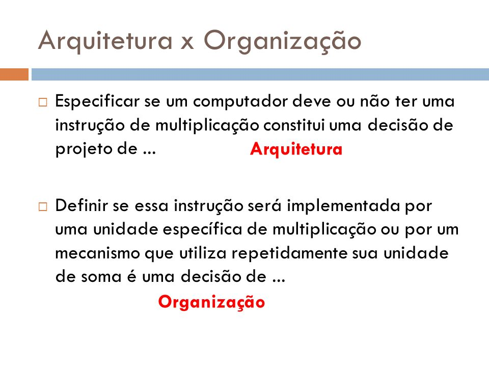 Arquitetura x Organização