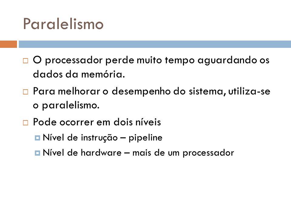 ParalelismoO processador perde muito tempo aguardando os dados da memória. Para melhorar o desempenho do sistema, utiliza-se o paralelismo.