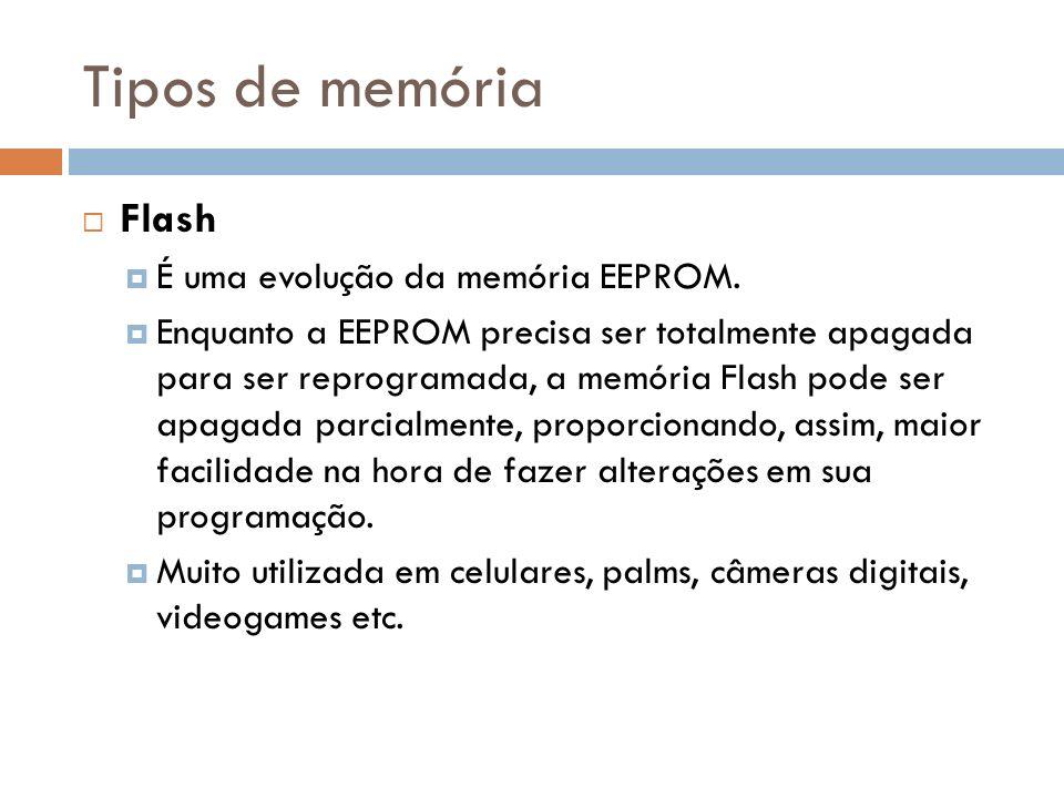 Tipos de memória Flash É uma evolução da memória EEPROM.