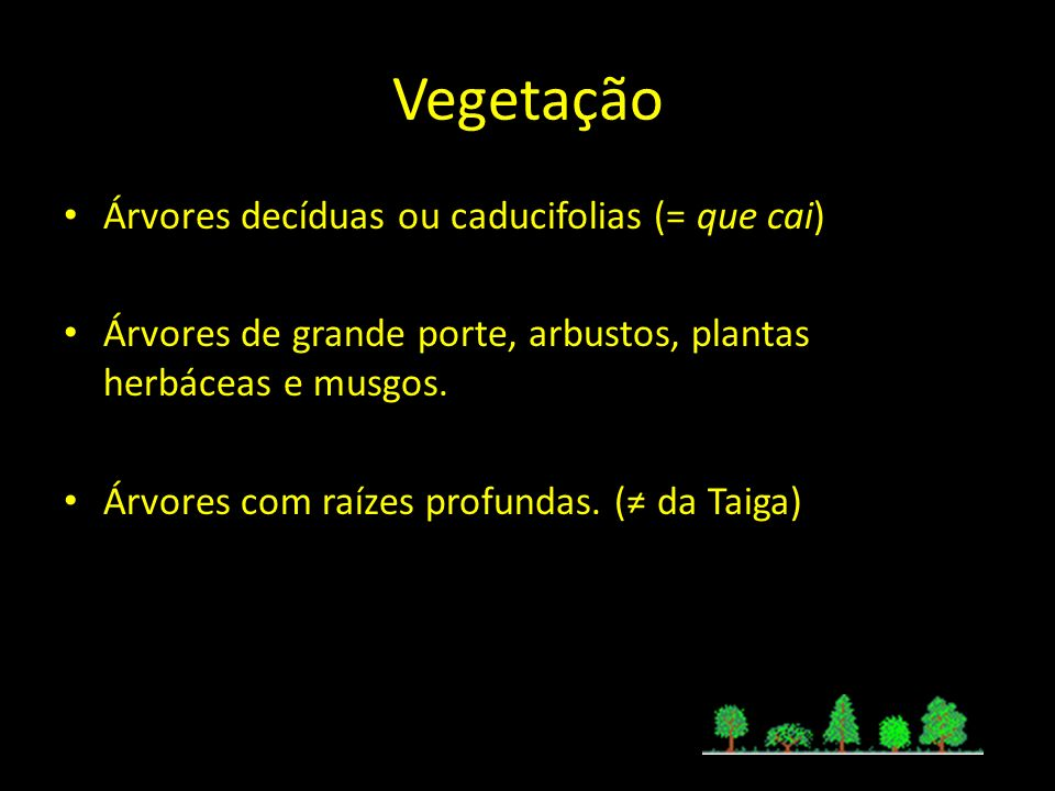 Vegetação Árvores decíduas ou caducifolias (= que cai)