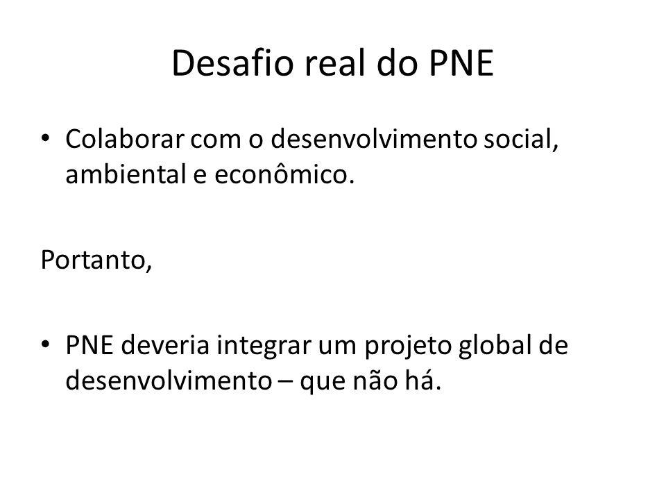 Desafio real do PNE Colaborar com o desenvolvimento social, ambiental e econômico. Portanto,