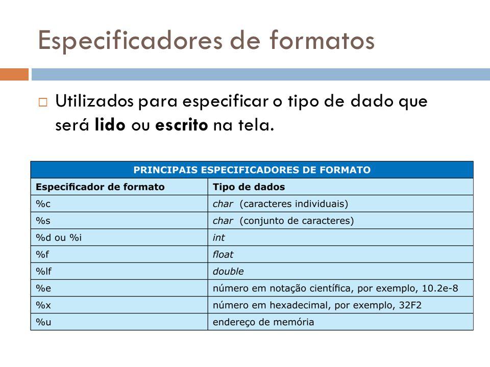 Especificadores de formatos
