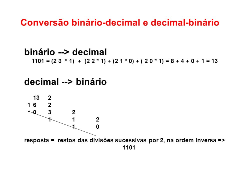 Conversão binário-decimal e decimal-binário