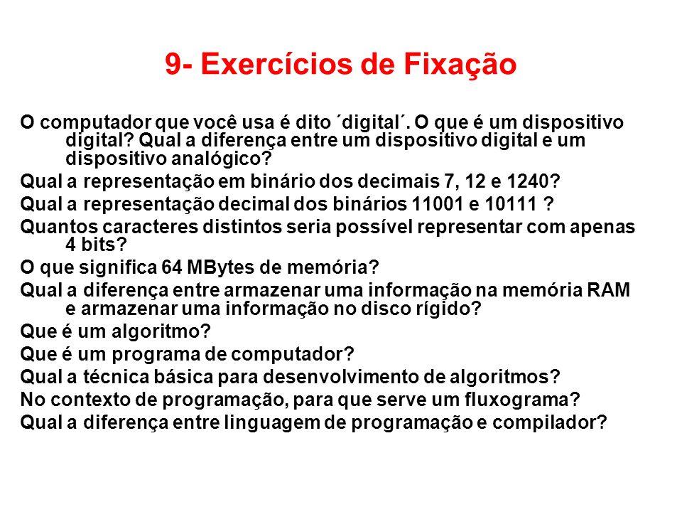 9- Exercícios de Fixação