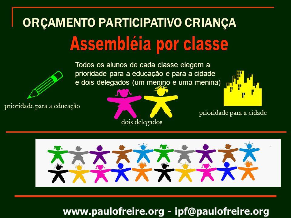 Assembléia por classe ORÇAMENTO PARTICIPATIVO CRIANÇA
