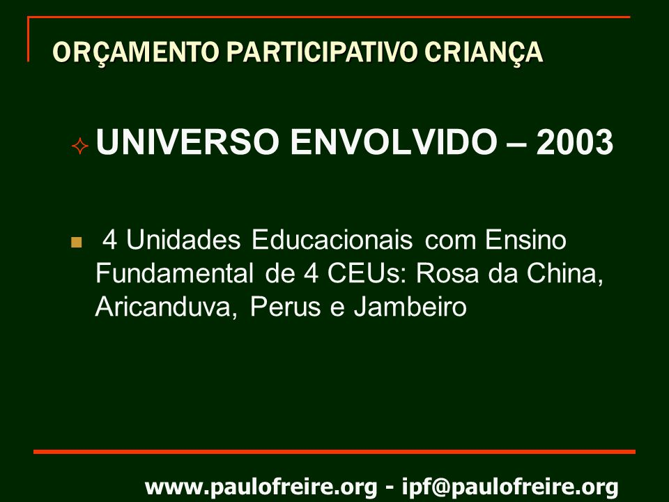 UNIVERSO ENVOLVIDO – 2003 ORÇAMENTO PARTICIPATIVO CRIANÇA