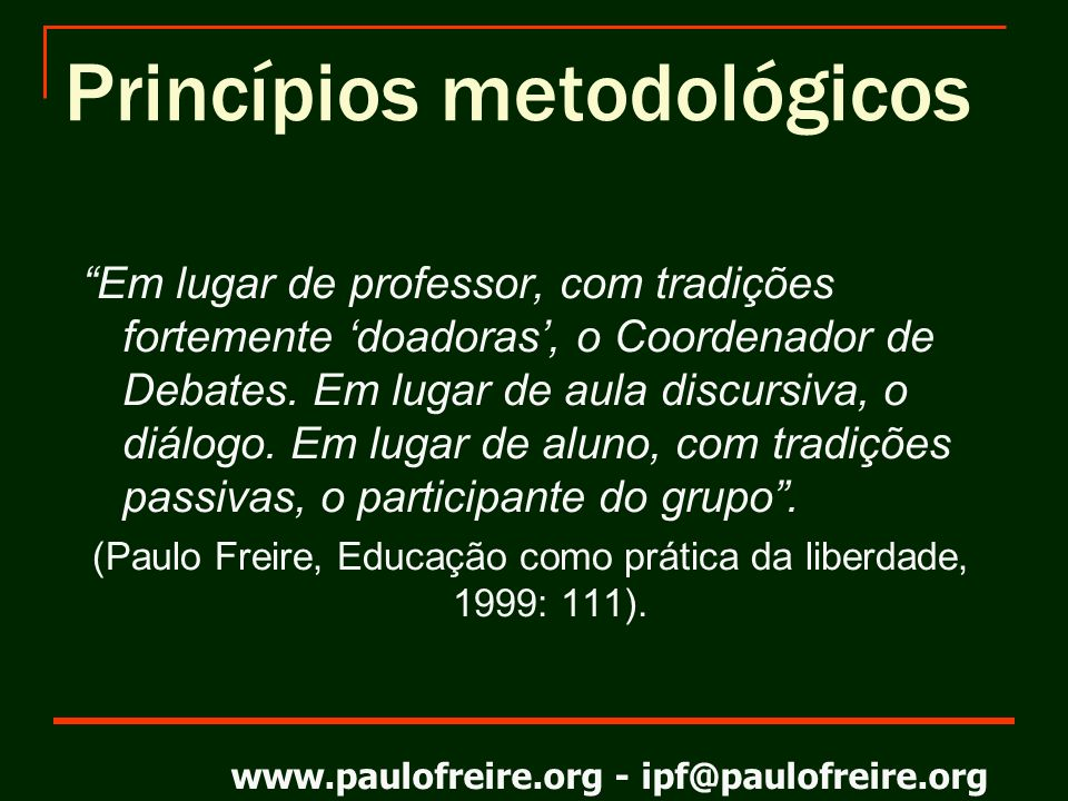 Princípios metodológicos