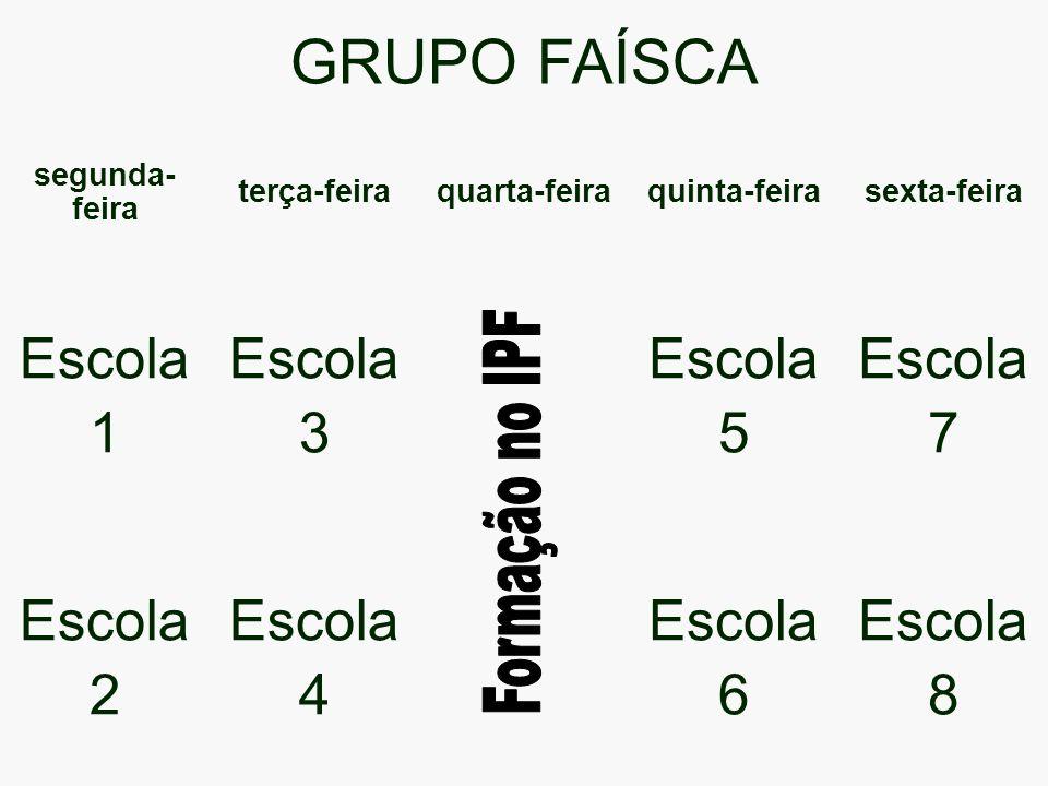 GRUPO FAÍSCA Escola 1 3 5 7 2 4 6 8 Formação no IPF