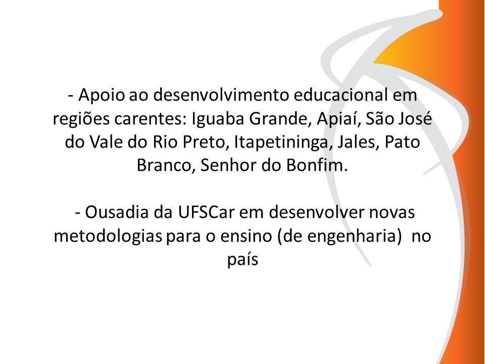 Apoio ao desenvolvimento educacional em regiões carentes: Iguaba Grande, Apiaí, São José do Vale do Rio Preto, Itapetininga, Jales, Pato Branco, Senhor do Bonfim.