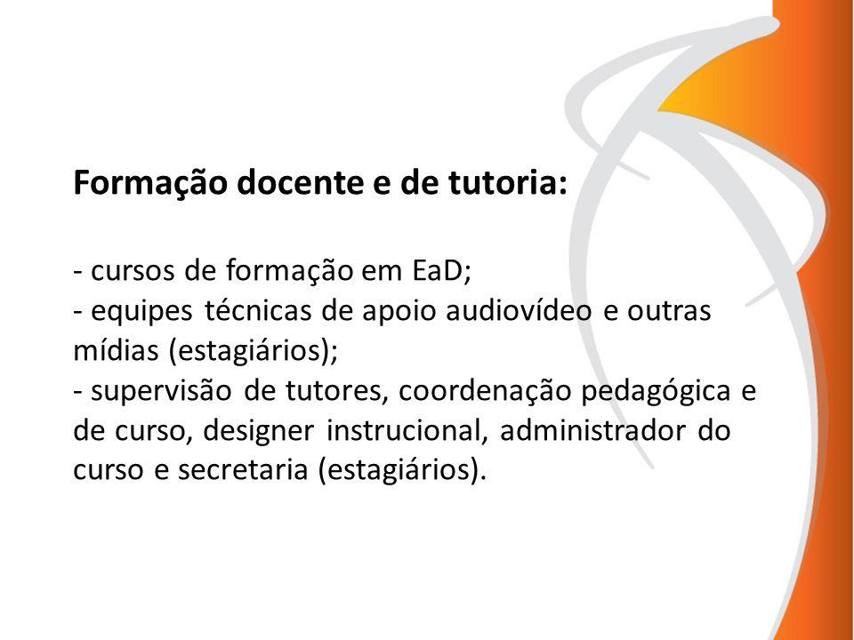 Formação docente e de tutoria: - cursos de formação em EaD; - equipes técnicas de apoio audiovídeo e outras mídias (estagiários); - supervisão de tutores, coordenação pedagógica e de curso, designer instrucional, administrador do curso e secretaria (estagiários).