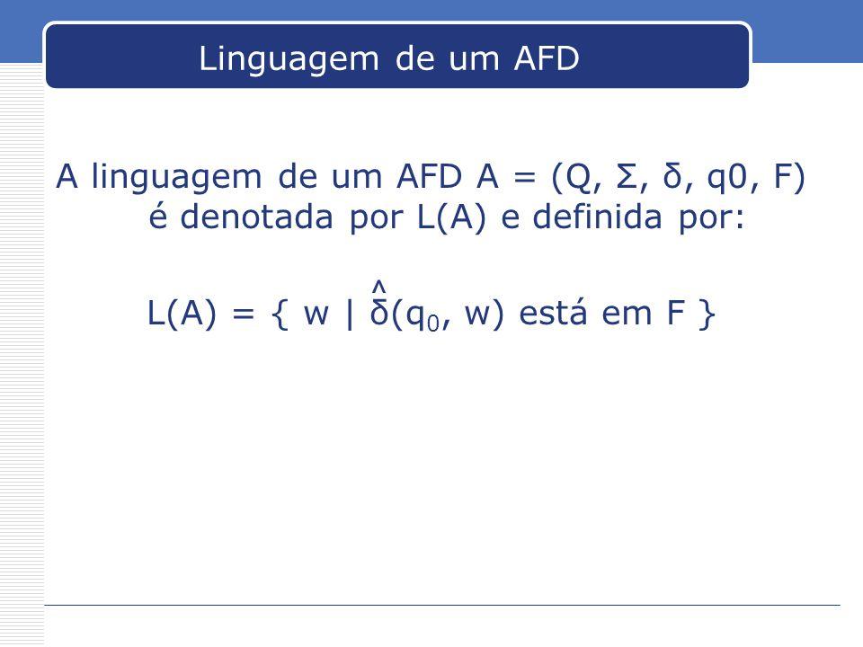 L(A) = { w | δ(q0, w) está em F }