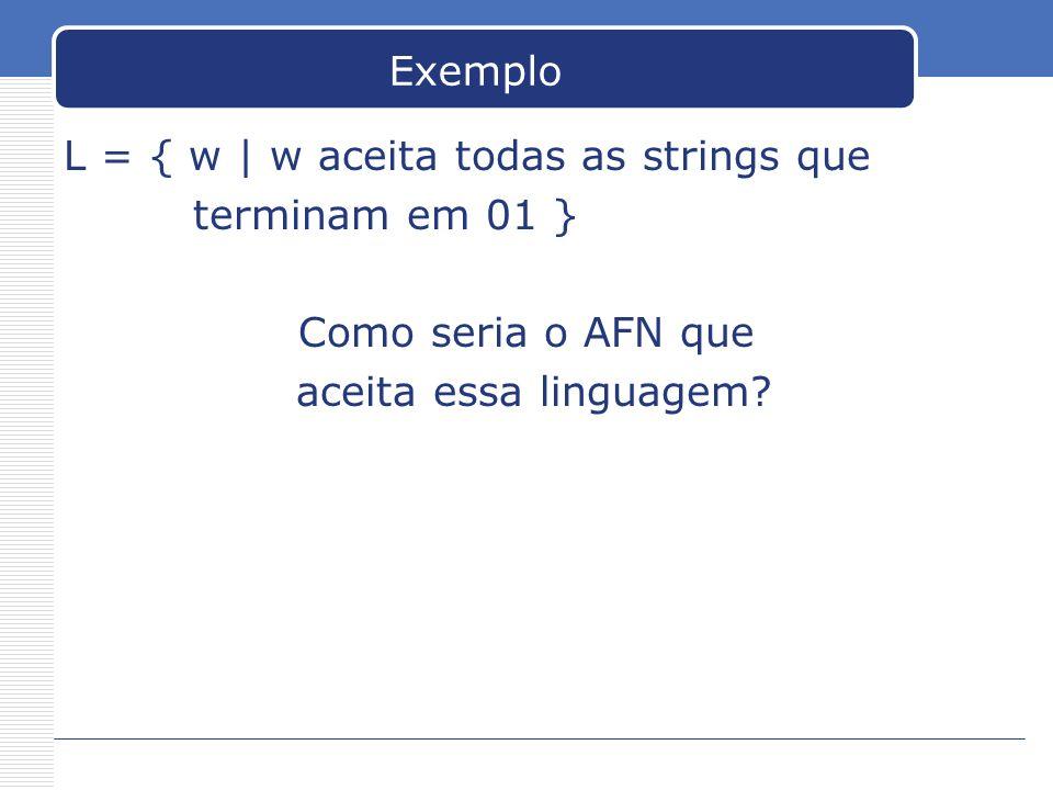 Exemplo L = { w | w aceita todas as strings que. terminam em 01 } Como seria o AFN que.