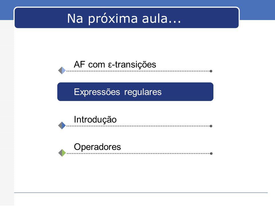 Na próxima aula... AF com ε-transições Expressões regulares Introdução