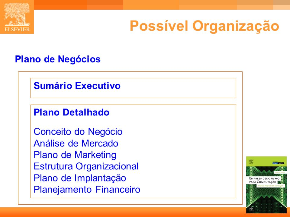 Possível Organização Plano de Negócios Sumário Executivo