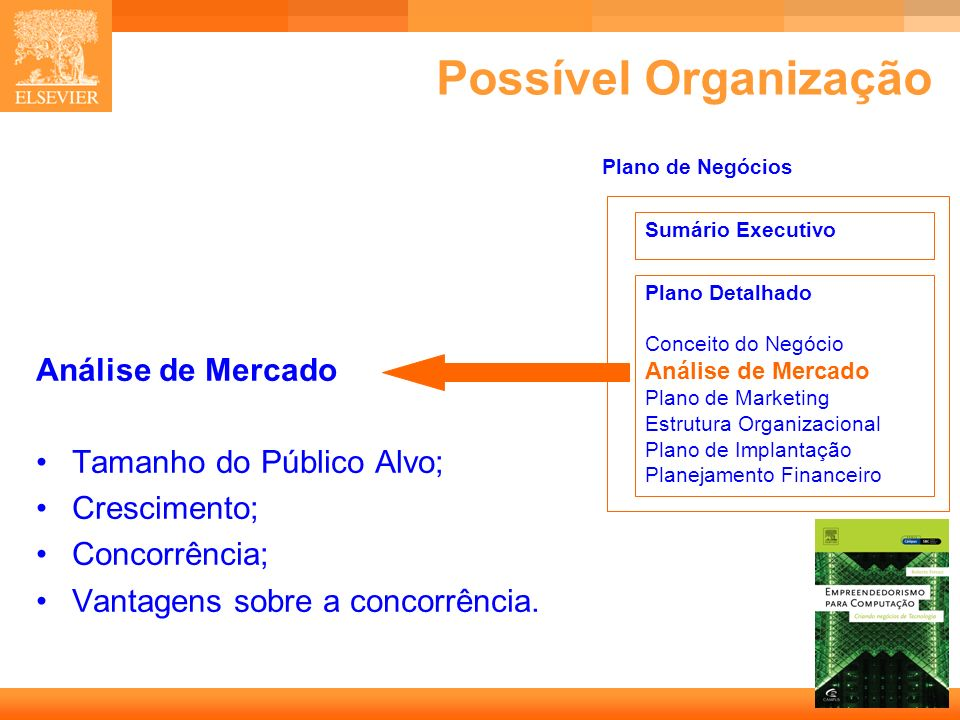 Possível Organização Análise de Mercado Tamanho do Público Alvo;