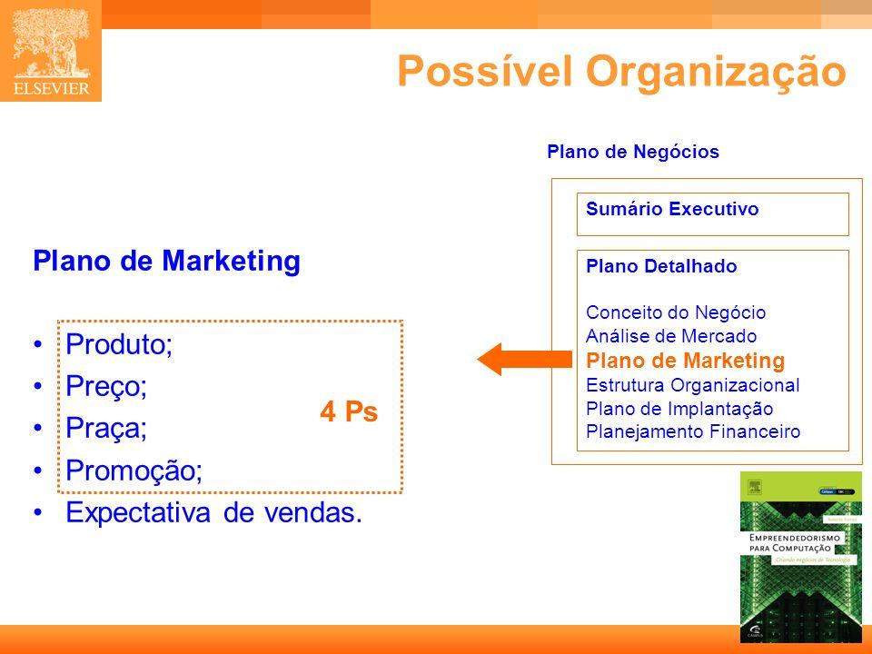 Possível Organização Plano de Marketing Produto; Preço; Praça;