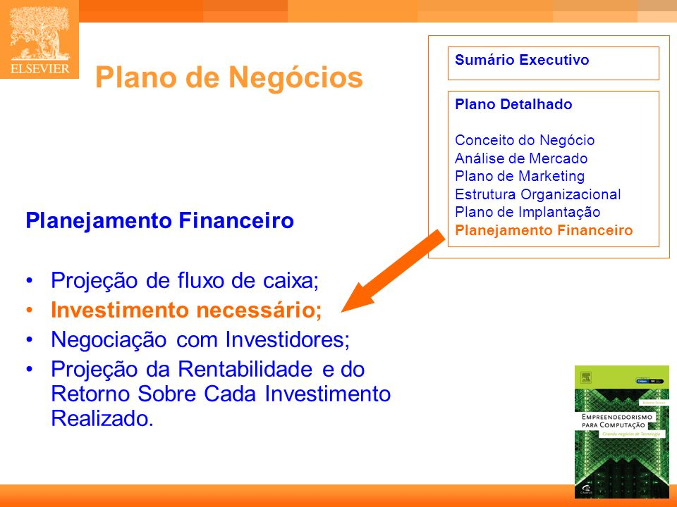 Plano de Negócios Planejamento Financeiro Projeção de fluxo de caixa;