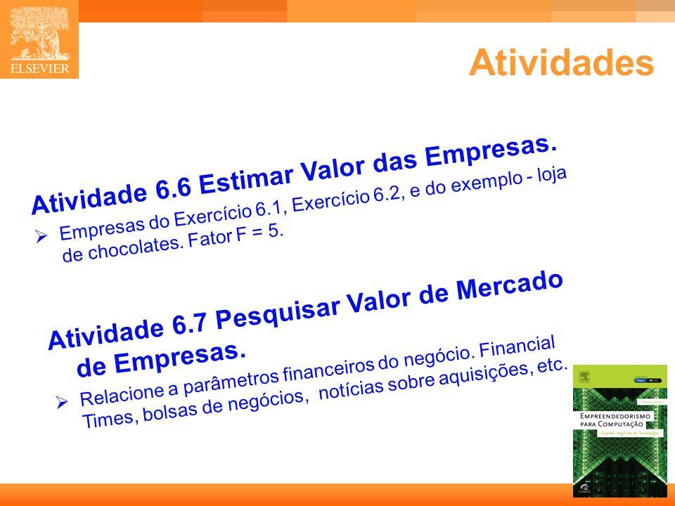 Atividades Atividade 6.6 Estimar Valor das Empresas.