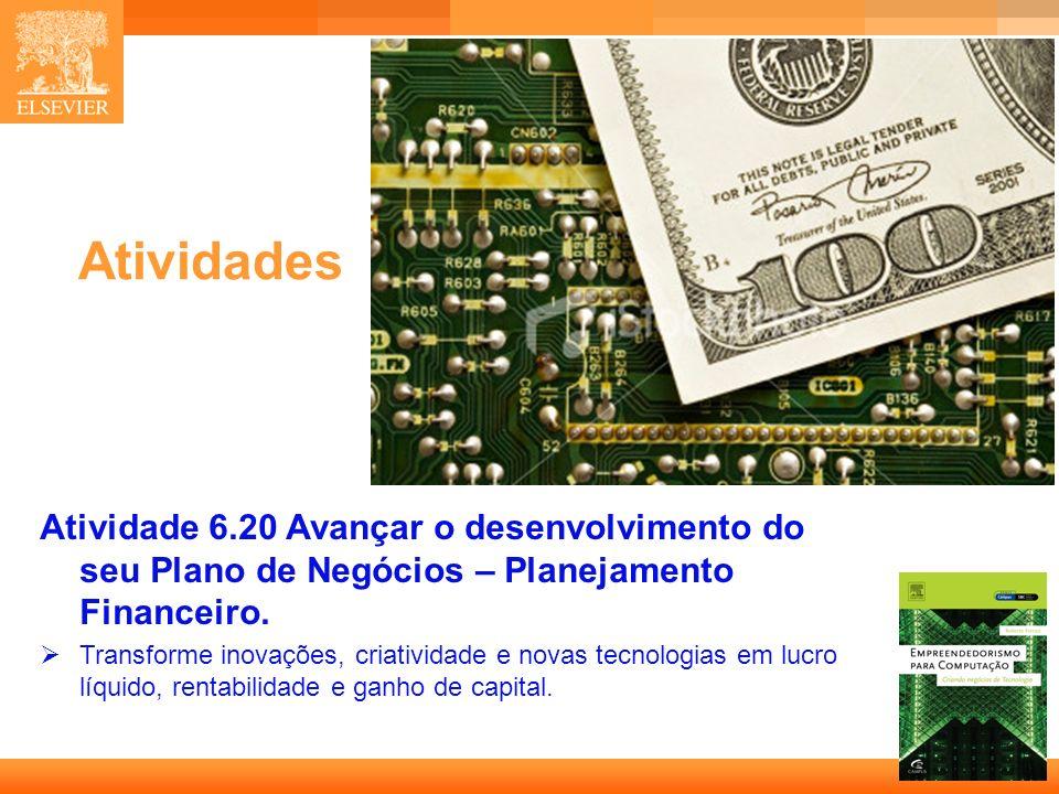 AtividadesAtividade 6.20 Avançar o desenvolvimento do seu Plano de Negócios – Planejamento Financeiro.