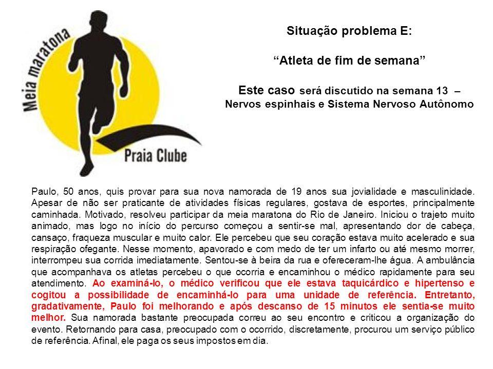 Situação problema E: Atleta de fim de semana Este caso será discutido na semana 13 – Nervos espinhais e Sistema Nervoso Autônomo.