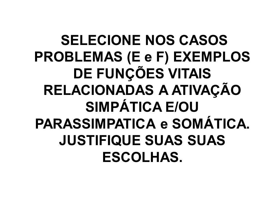 SELECIONE NOS CASOS PROBLEMAS (E e F) EXEMPLOS DE FUNÇÕES VITAIS RELACIONADAS A ATIVAÇÃO SIMPÁTICA E/OU PARASSIMPATICA e SOMÁTICA.