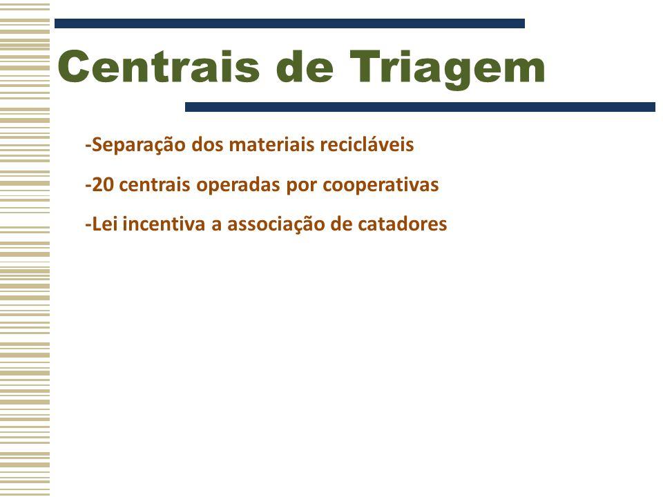 Centrais de Triagem -Separação dos materiais recicláveis