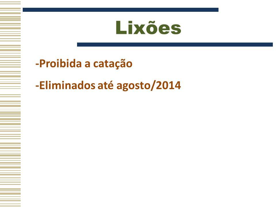 Lixões -Proibida a catação -Eliminados até agosto/2014