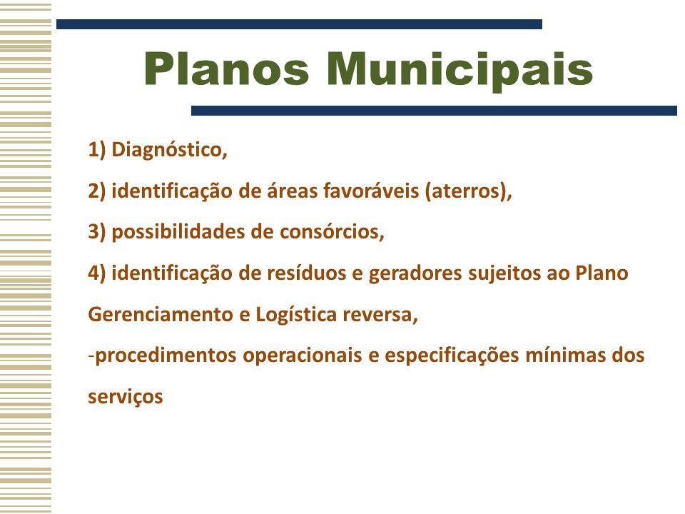 Planos Municipais 1) Diagnóstico,