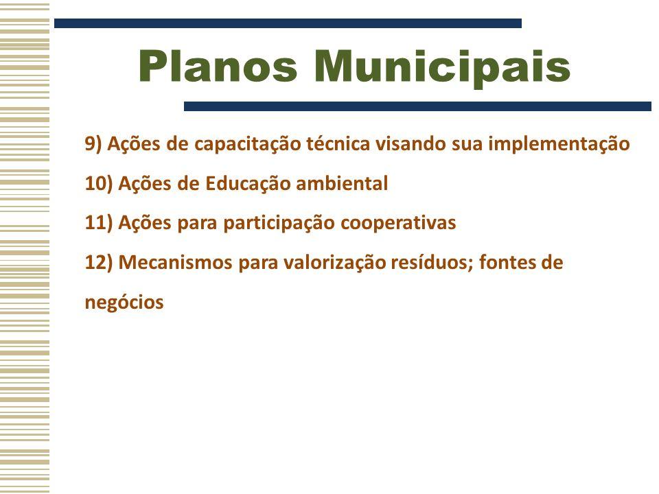 Planos Municipais 9) Ações de capacitação técnica visando sua implementação. 10) Ações de Educação ambiental.